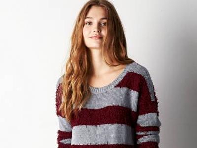 AEO Shag Striped Sweater
