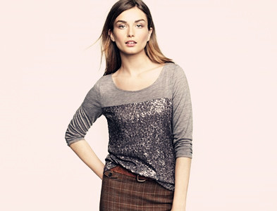 Girls' Long Sleeve High Low Sequin Knit Tee