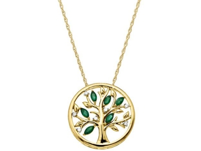 Save $550 on LORD & TAYLOR 14Kt. Yellow Gold, Diamond & Emerald Pendant Necklace