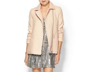 35% Off Pim + Larkin Long- Sleeve Texture Pink Moto Jacket. 100% Polyester