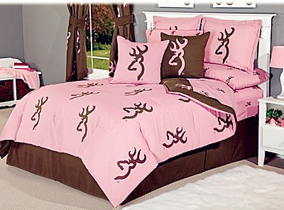 Browning Buckmark Pink and Brown Reversible Bedding Collection