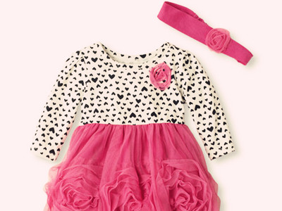 Heart Rosette Dress & Headwrap Set