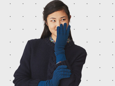 Long Pinstripe Gloves in Merino Wool