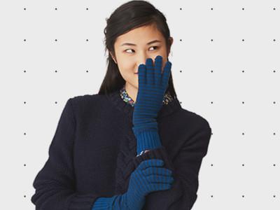 Long Pinstripe Gloves in Merino Wool