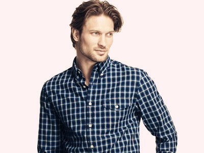 Men's Wrinkle-Resistant Mini-Tartan Shirt