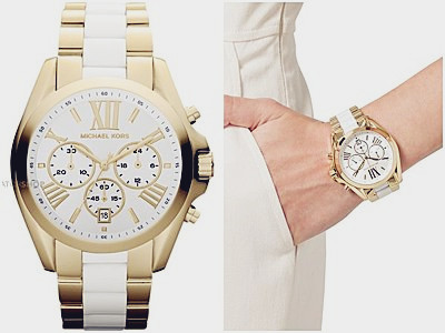 Michael Kors Petite Golden Stainless Steel Runway Three-Hand Glitz Watch