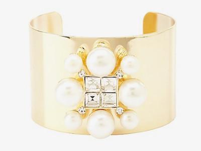 Rhinestone & Pearl Cuff Bracelet
