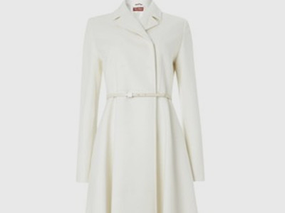 T Tahari Winter White Wool Blend 'Haifa' Belted Coat