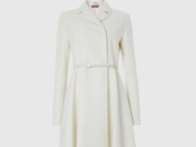 T Tahari Winter White Wool Blend 'Haifa' Belted Coat