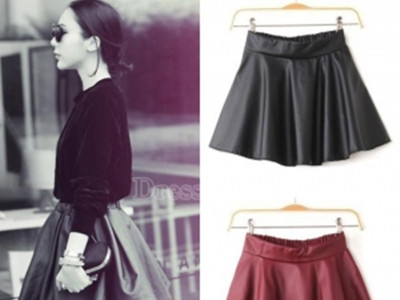 Women Retro Synthetic Leather High Waist Skater Flared Pleated Mini Skirt