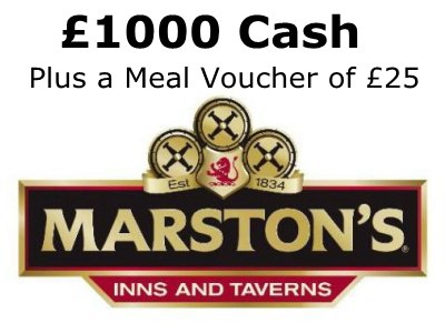 www.rateyourvisit.co.uk Win £1000 Cash Daily And A £25 Voucher In The Marston's Inns And Taverns Contest