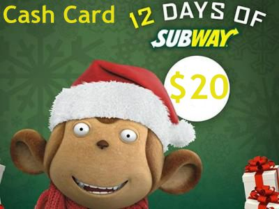 www.facebook.com/SubwayCanada Win A CAD$20 Subway Card Daily In The 12 Days Of Subway Contest