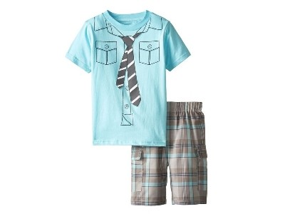 Get 40% Off Little Boys' Blue Tee with Shirt Print-Tie and Shorts