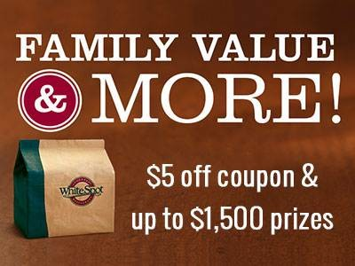 Win Up To $1,500 Sweepstakes Prizes & Receive $5 Off Coupon From White Spot Guest Feedback Survey