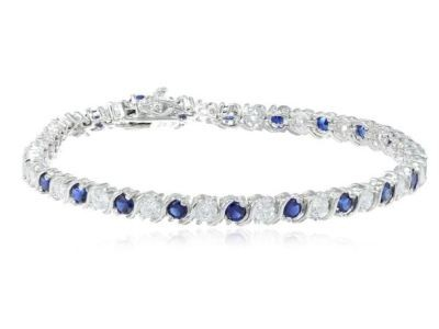 Enjoy 52% Off A Beautiful Cubic Zirconia and Created Blue Sapphire Bracelet