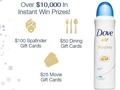Post Your Thoughts On Dove Dry Spray To Win Over $10,000 In Prizes Instantly