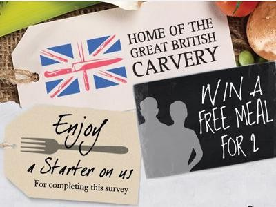 Get Your Free Starter & Win A Free Meal For 2 From Great British Carvery Customer Feedback Survey