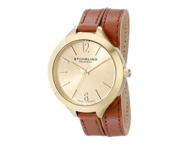 Enjoy 80% Off Stuhrling Brown Leather Wrap Around Band Gold Tone Watch
