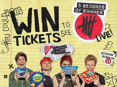 www.nabisco5sos.com Enter 5SOS Back To School Sweepstakes To See 5 Seconds Of Summer Live In Concert