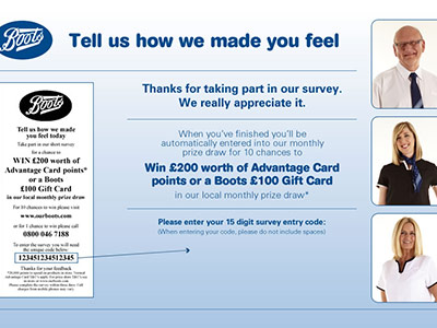 www.ourbootsfeedback.co.uk Win £200 Worth Of Advantage Card Points From Boots Customer Feedback Survey Monthly Prize Draw