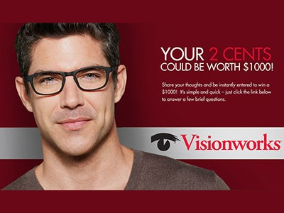 www.eyewearsurvey.com - Win A $1,000 Check From Visionworks Of America Survey Sweepstakes