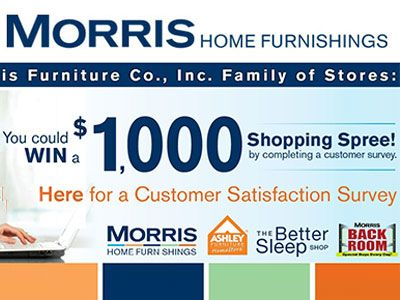 www.morrisathome.com/survey Win A $1000 Shopping Spree At The Morris Furniture Family Of Stores Customer Satisfaction Survey Sweepstakes
