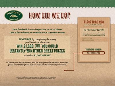 www.harvester-survey.com -  Win Empathica Cash Prize Via Harvester Salad & Grill Customer Survey Sweepstakes