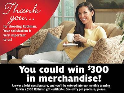 www.rothmansurvey.com - Win A $300 Rothman Gift Certificate From Rothman Customer Post Purchase Survey Sweepstakes