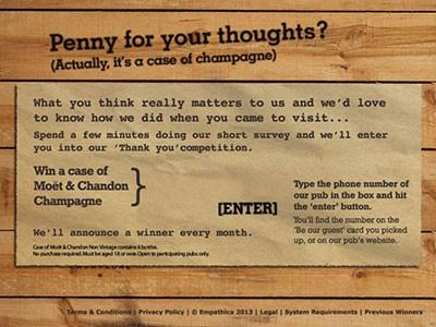 www.bestvillagepubs.co.uk - Win Six 750ml Bottles Of Non-Vintage Moet & Chandon Champagne From Village Pub & Kitchen Customer Satisfaction Survey Contest