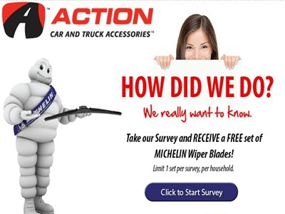 www.actioncarandtruck.com/survey - Receive A Free Set Of Michelin Wiper Blades Via Action Car And Truck Accessories Michelin Wiper Promo Online Customer Survey