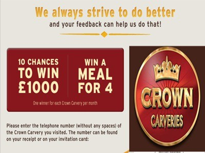 www.crowncarveries-survey.co.uk - Win Empathica Cash Prize & A Voucher For 4 Main Carvery Meals Via The Crown Carveries Guest Satisfaction Survey Contest