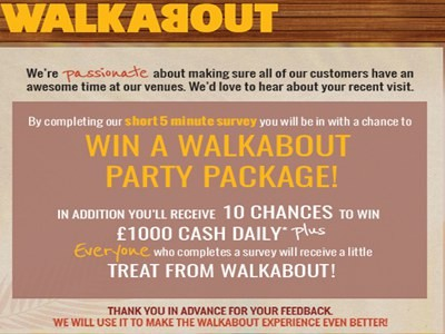 Walkabout Customer Feedback Survey Sweepstakes