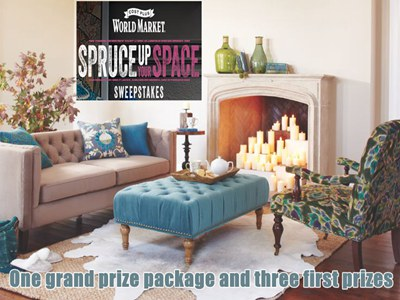 www.worldmarketsweepstakes.com Win One Grand Prize Package And Three First Prizes Via World Market's Spruce Up Your Space Sweepstakes