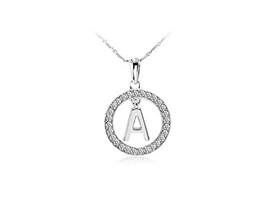 Swarovski Elements Crystal Alphabet Initial Letter A Circle Pendant Necklace - 18